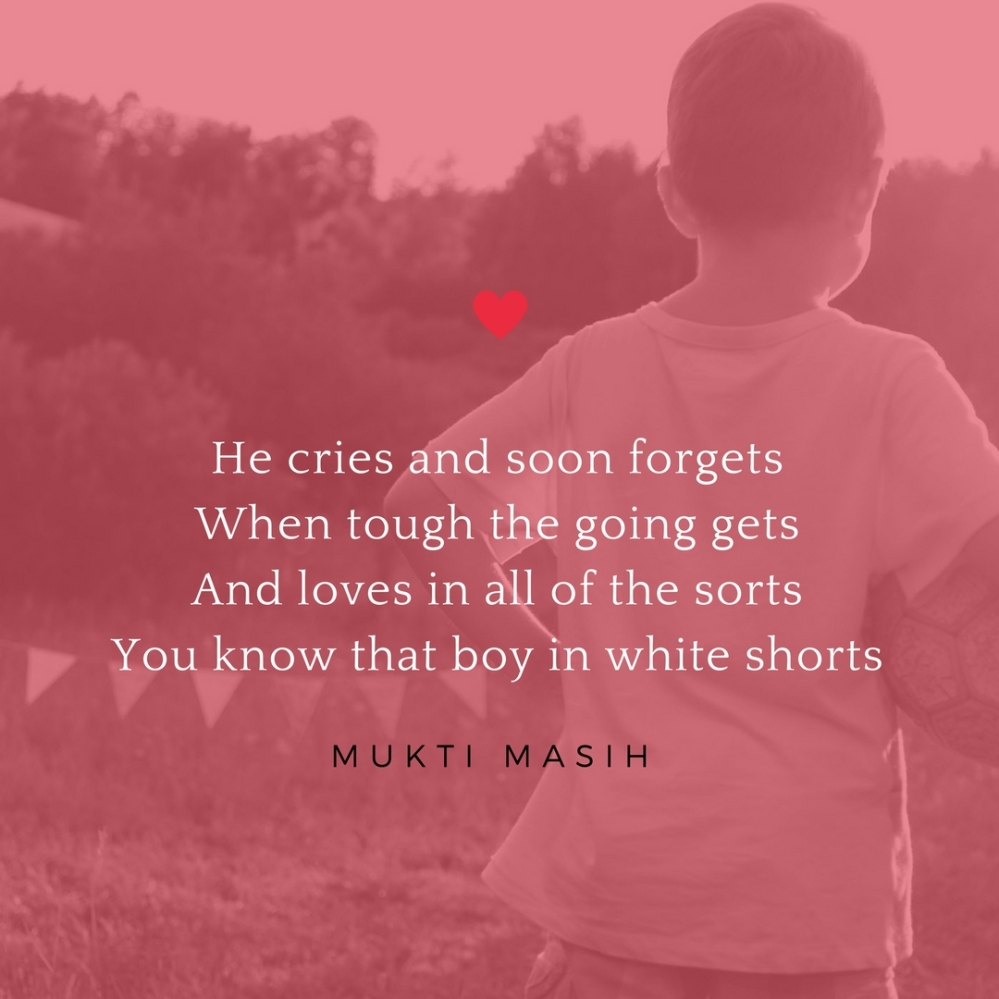 boy in white shorts